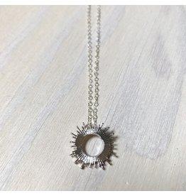 Devil May Wear Raggio Di Sole Necklace, White Gold Plated, Solid Silver Chain