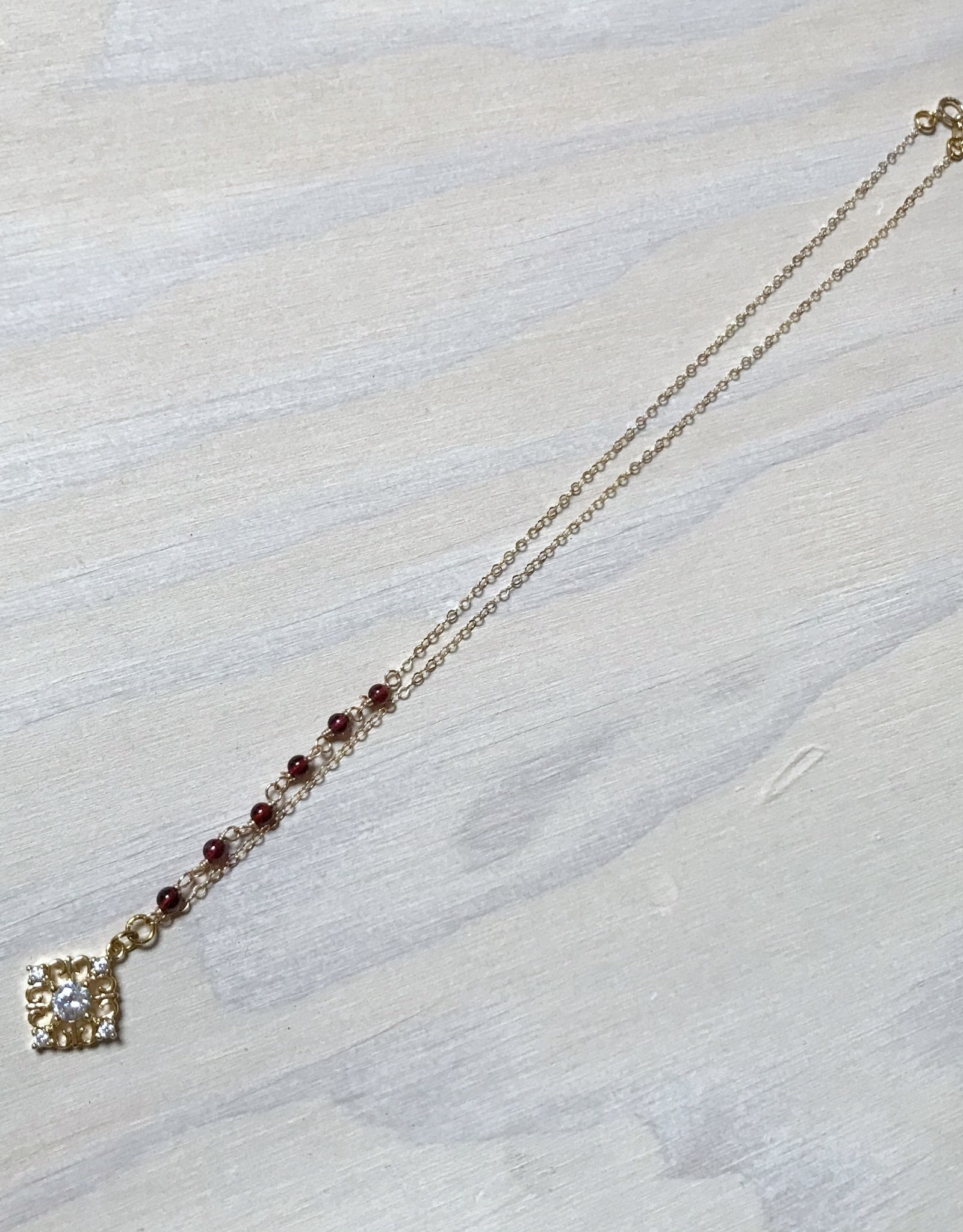 Devil May Wear Collana Regale Necklace, Gold Plated, Gold Fill Chain, Cubic Zirconia, Garnet