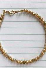 Devil May Wear Dainty Bead Bracelet. Gold, Swarovski Pearl/Crystal, Chinese Crystal