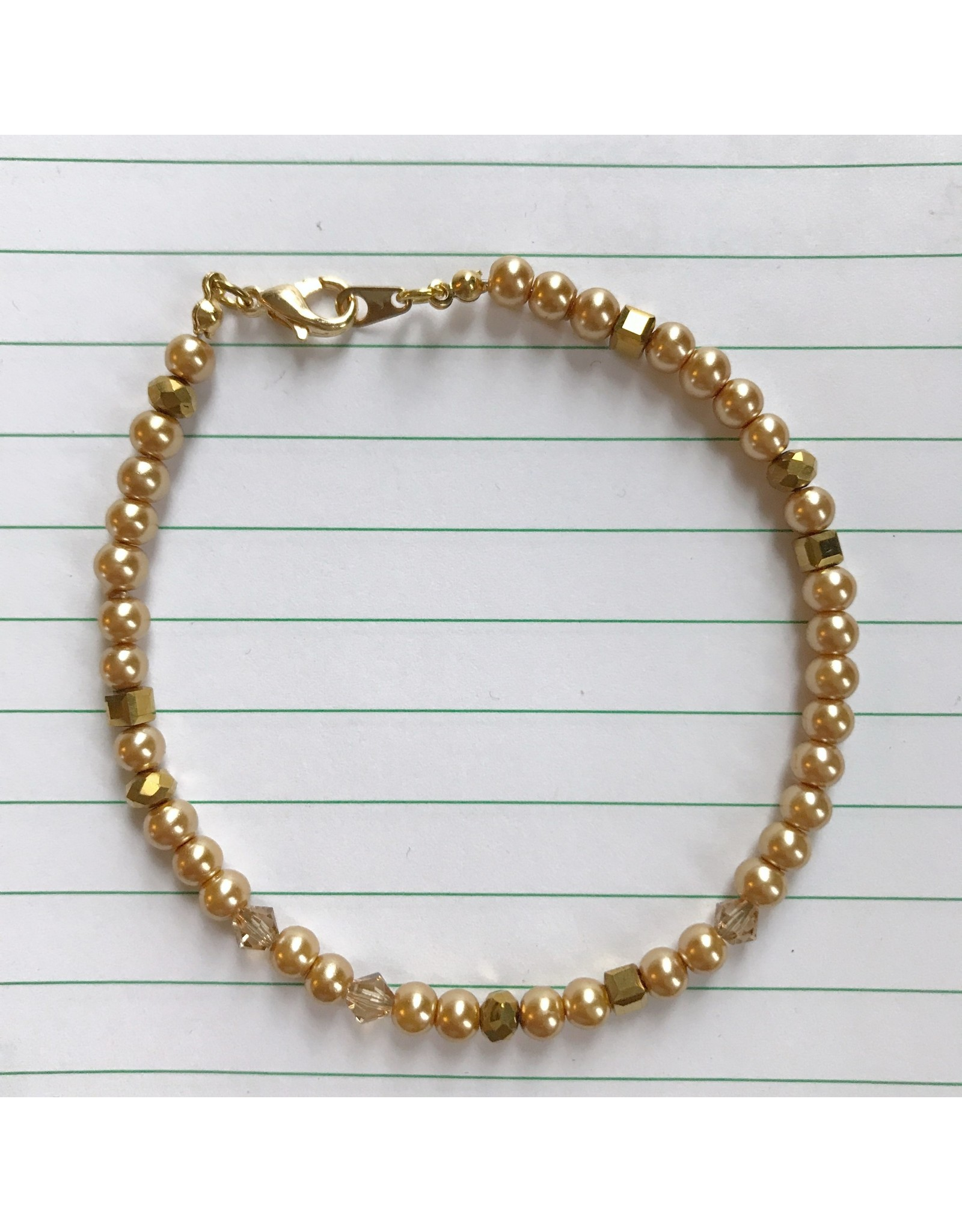 Devil May Wear Dainty Bead Bracelet. Gold, Swarovski Pearl/Crystal, Chinese Crystal