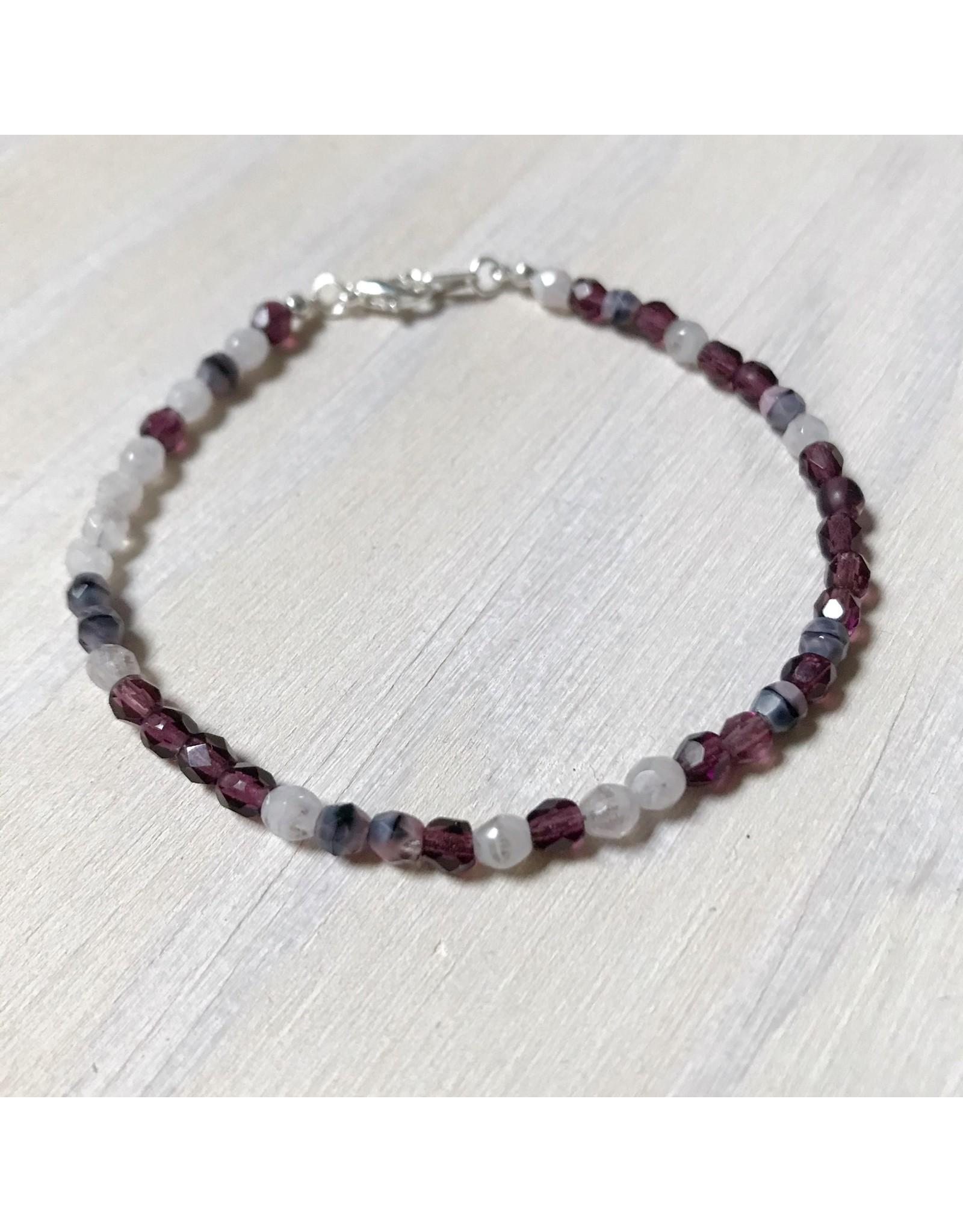 Devil May Wear Dainty Bead Bracelet. Cream/Purple, Czech Crystal