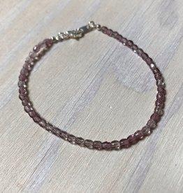 Devil May Wear Dainty Bead Bracelet. Lavender, Czech Crystal
