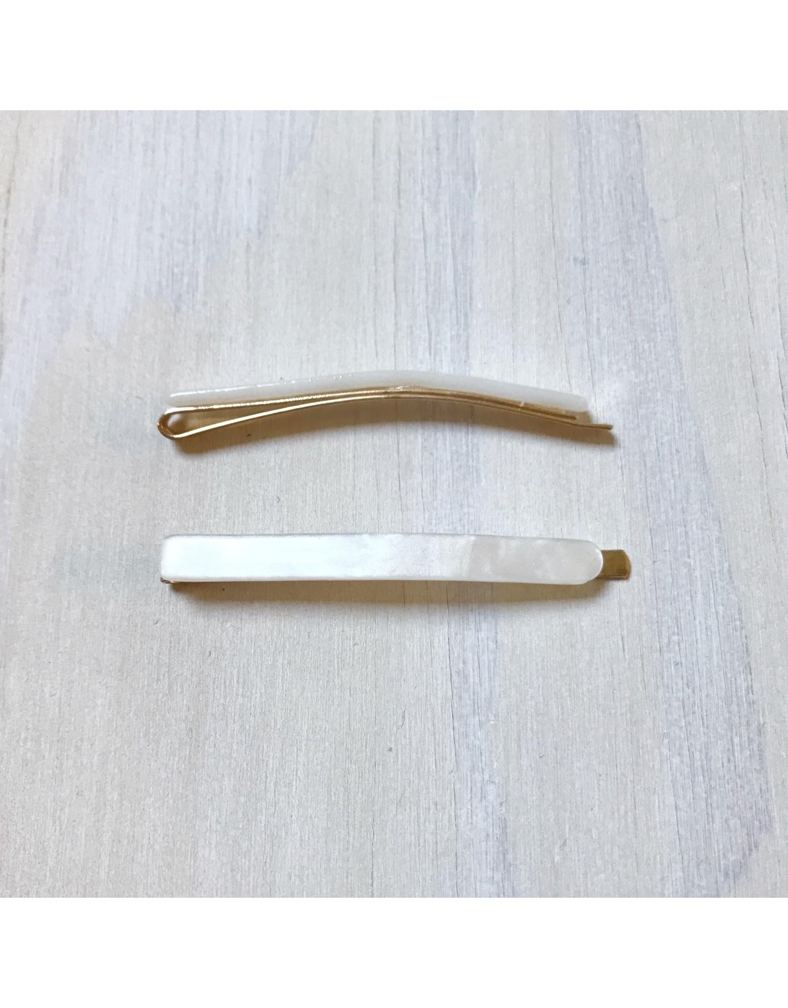 Young & Heart Thin Resin Hair Pin Pair. Opal