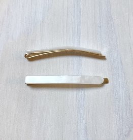 Young & Heart Thin Resin Hair Pin Pair. Opal