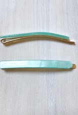 Young & Heart Thin Resin Hair Pin Pair. Aqua