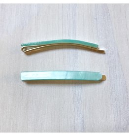 Young & Heart Thin Resin Hair Pin Pair. Aqua