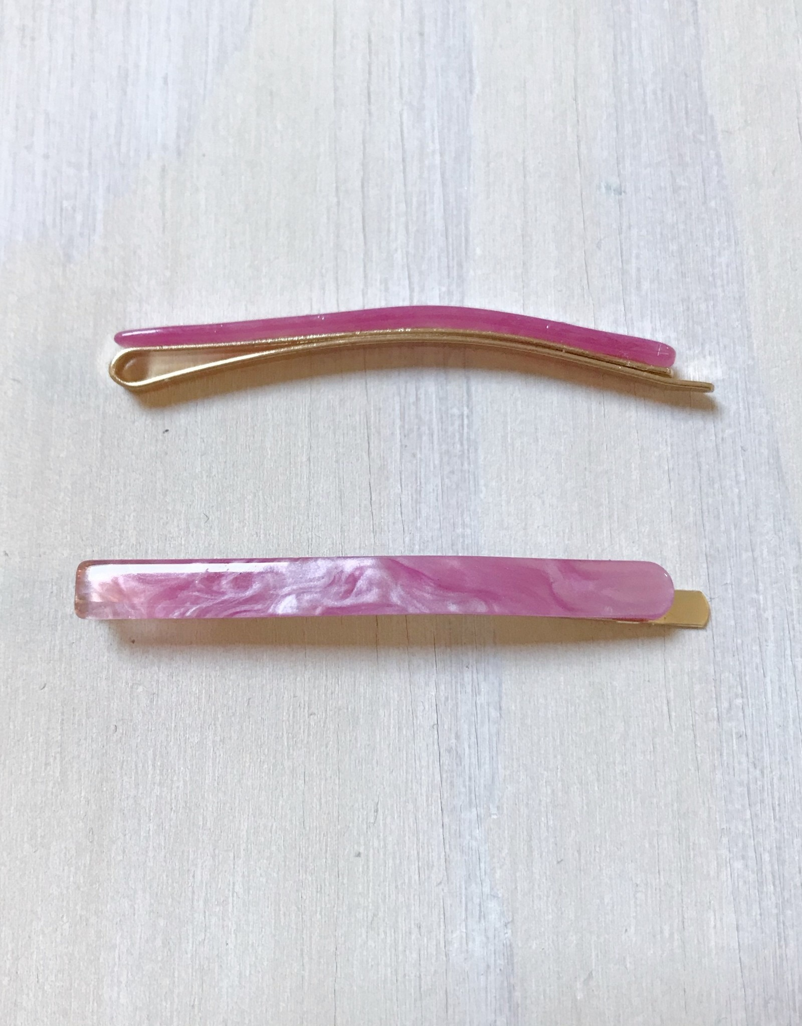 Young & Heart Thin Resin Hair Pin Pair. Cotton Candy