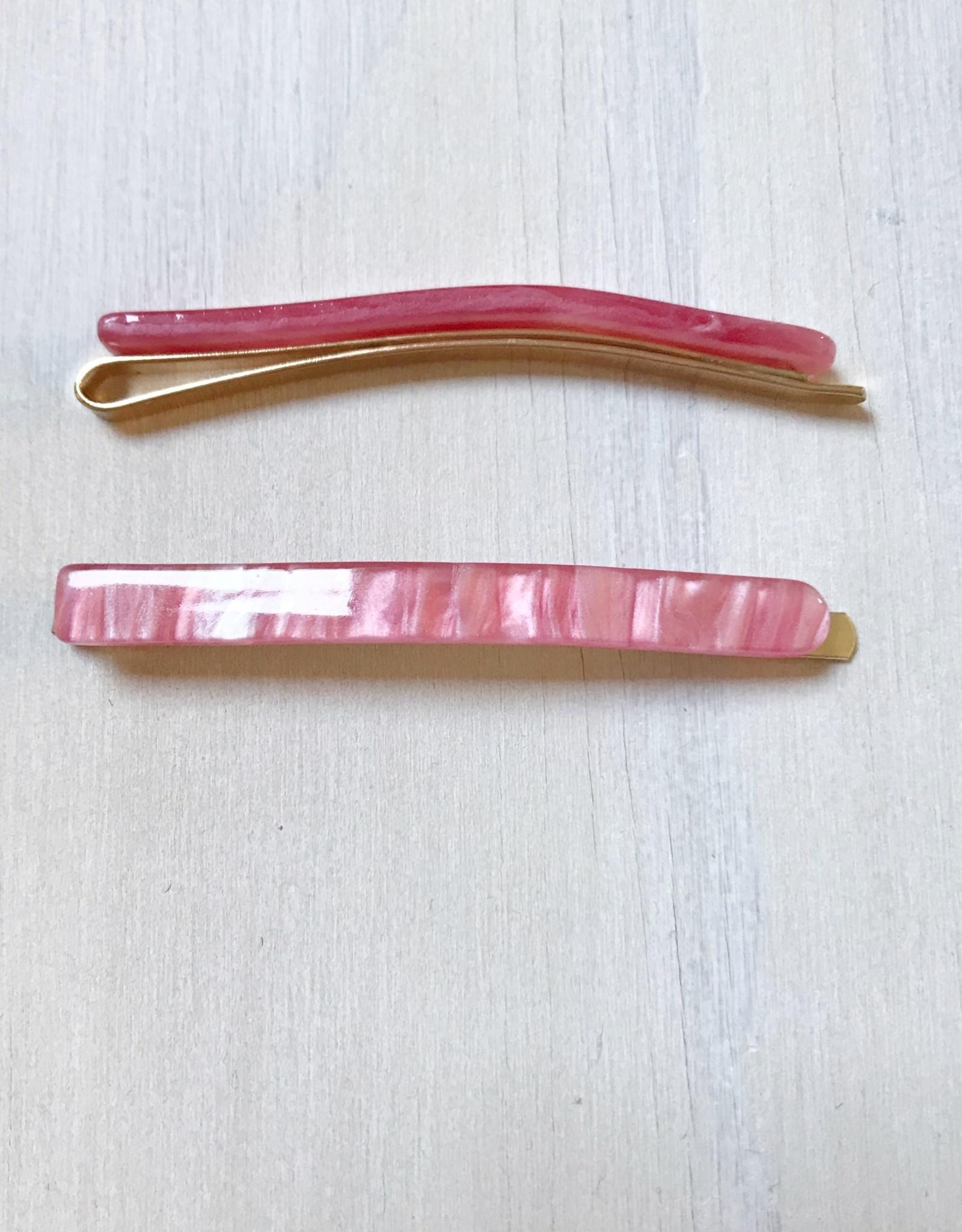 Young & Heart Thin Resin Hair Pin Pair. Cherry