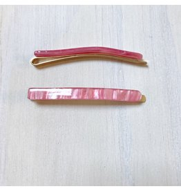 Young & Heart Thin Resin Hair Pin Pair. Cherry