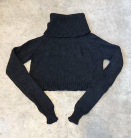 Devil May Wear Moonlight Cropped Turtleneck, Black