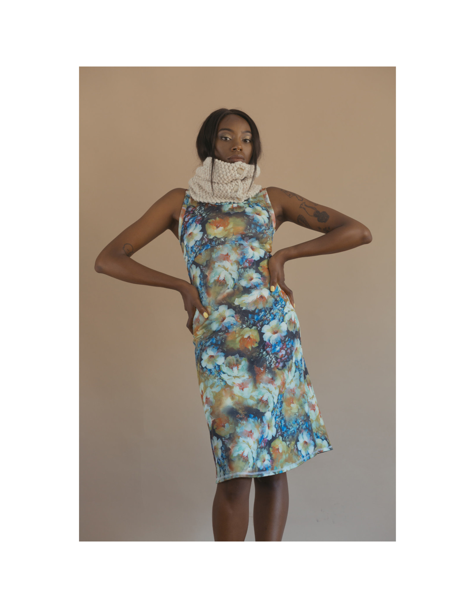 Devil May Wear Painted Lady Dress, 95% polyester 5% spandex
