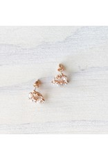 Young & Heart Floral Halo Studs, Rose Gold, Silver Posts