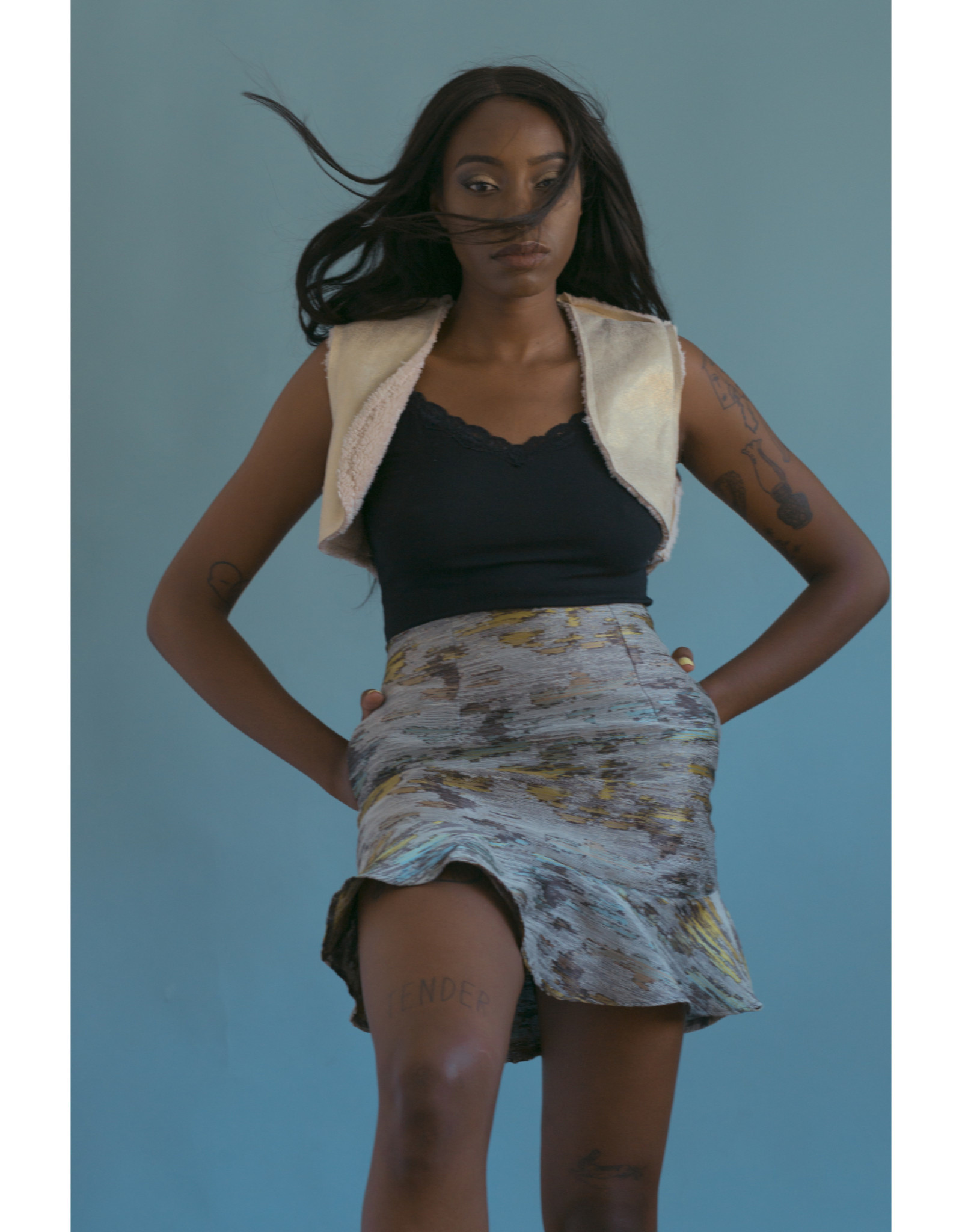 Devil May Wear Luna Skirt, Polyester Linen Blend