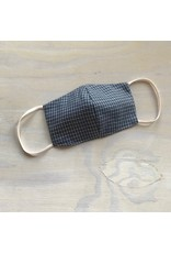 Devil May Wear Around the Ears Face Mask, Blue Houndstooth