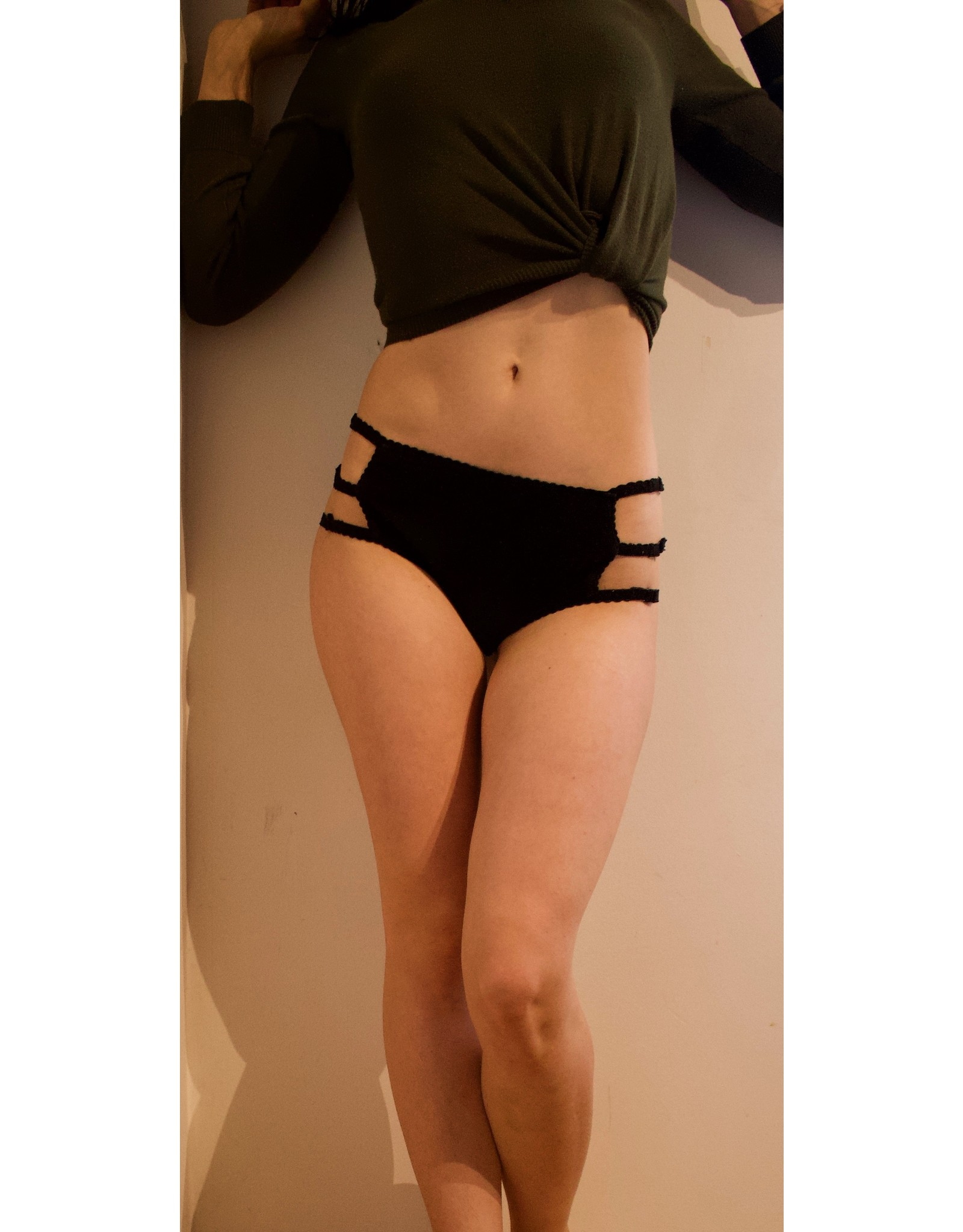Devil May Wear Cage Panties. Bamboo blend. Adjustable size tabs. Mid Rise. Black