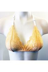 Devil May Wear French Cut Lace Bra Top. Hand Dyed Colours. Halter strap. Tangerine