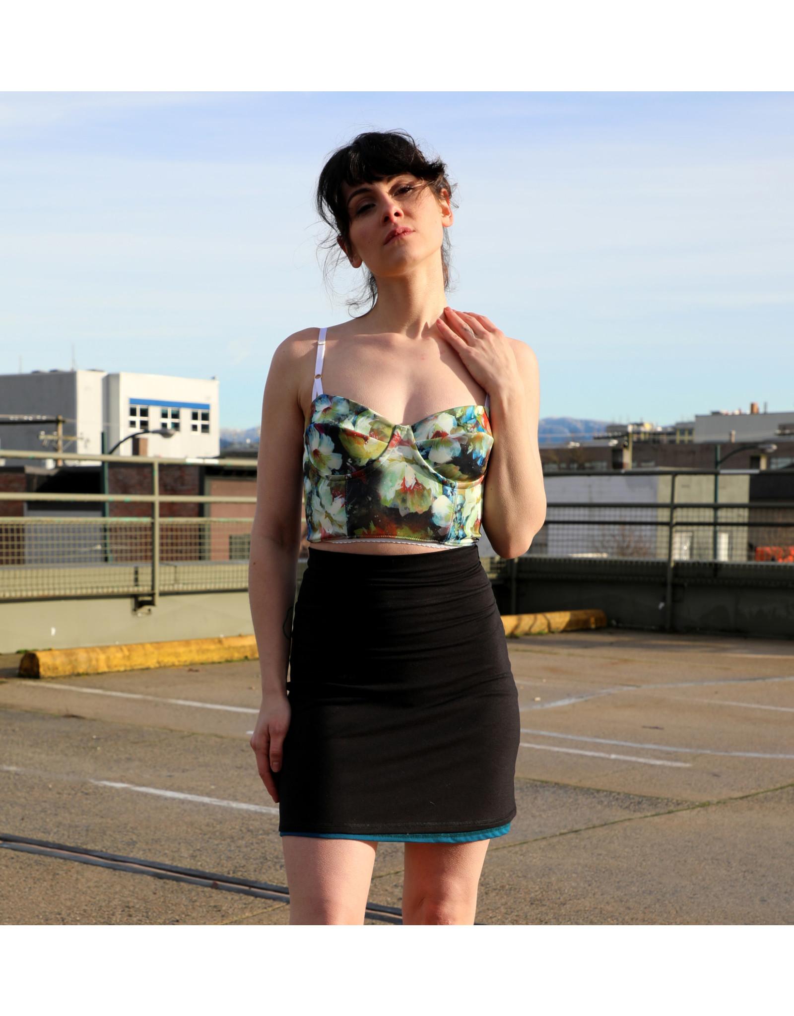 Devil May Wear Wonderland Bustier, 95% Polyester, 5% Spandex, Floral