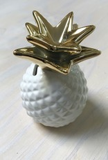 Young & Heart Pineapple Coin Bank, Gold/White