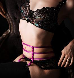 Devil May Wear Cage Garter Belt. Elastic. Adjustable. Magenta