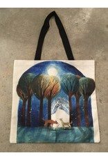Young & Heart Canvas Tote, Under the Midnight Sky