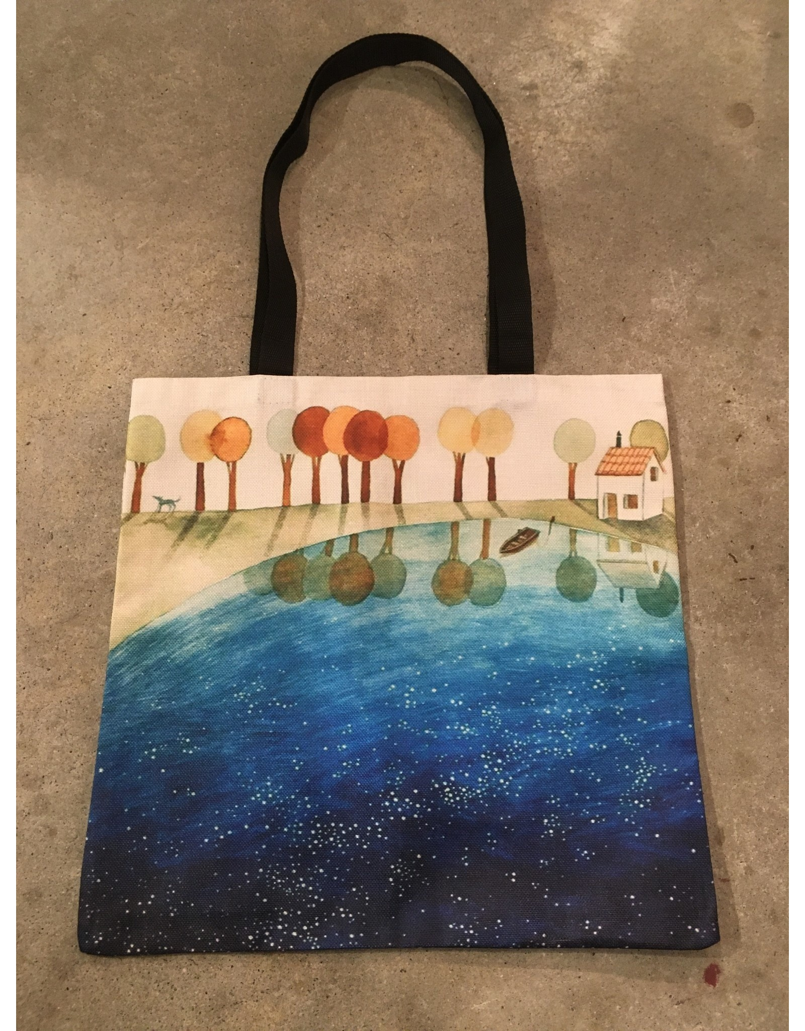 Young & Heart Canvas Tote, Still Lake