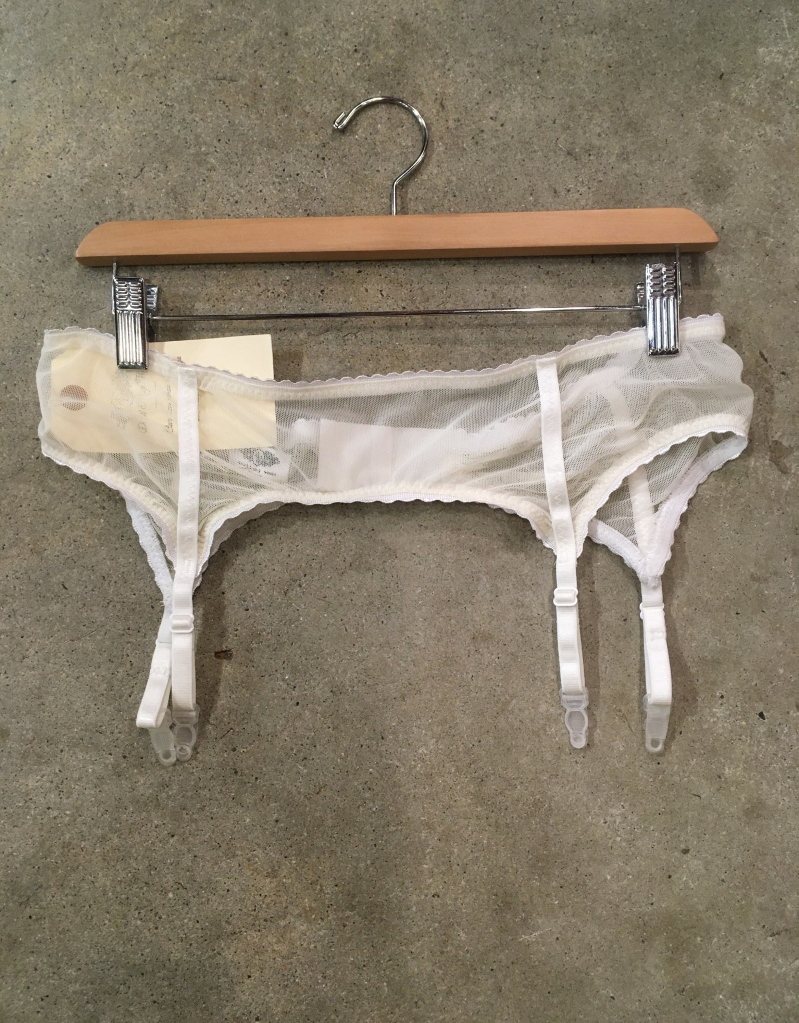 Devil May Wear Lola Garter Belt. 100% Nylon Mesh. Bra clasp closure. Low Rise fit. Cream/Cream