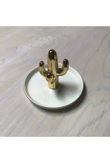 Young & Heart Cactus Ring Holder, Gold/White