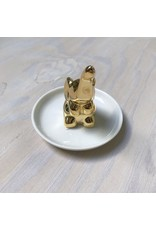 Young & Heart Elephant Ring Holder, White/Gold