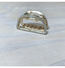 Young & Heart Semi Circle Gold and Resin Lobster Claw Hair Clip, White