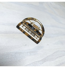 Young & Heart Semi Circle Gold and Resin Lobster Claw Hair Clip, Torti