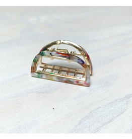 Young & Heart Semi Circle Gold and Resin Lobster Claw Hair Clip, Mulit Color
