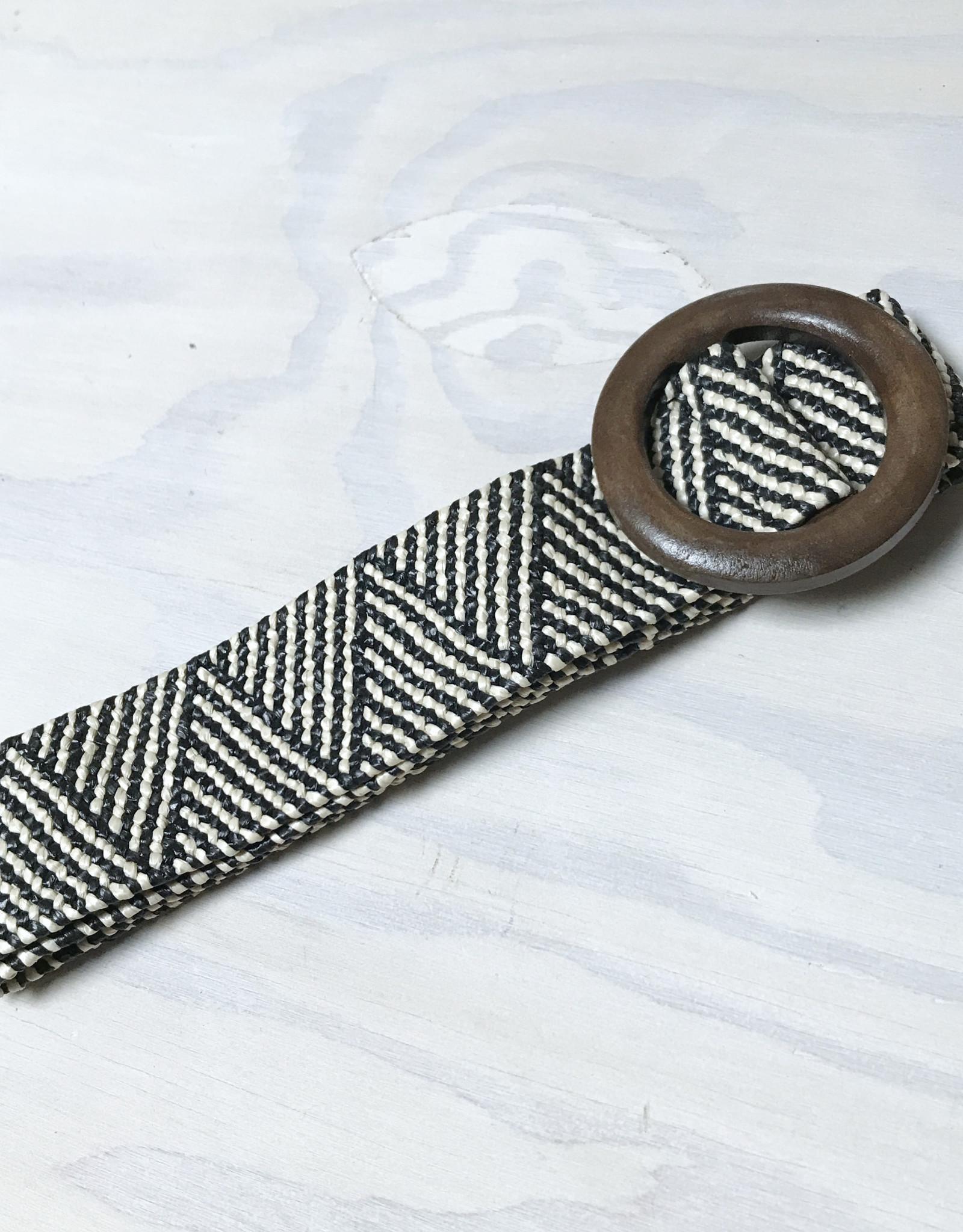 Young & Heart Wide Straw Belt, Black/Cream