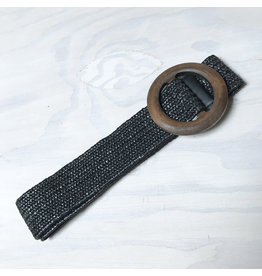 Young & Heart Wide Straw Belt, Black