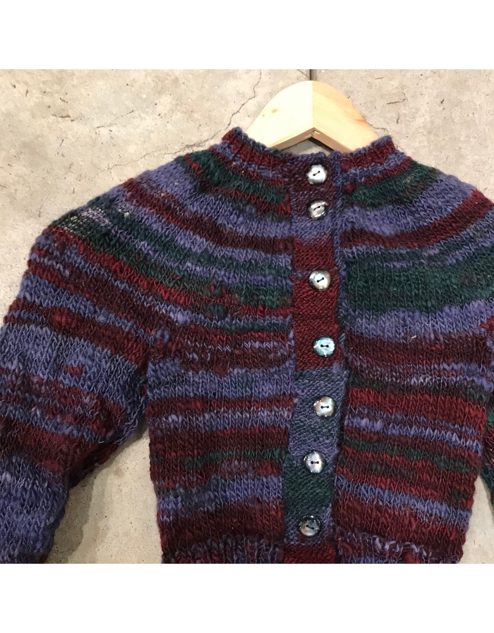 Devil May Wear Hand Dyed, Spun and Knit Cardigan, Small 100% Merino Wool