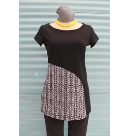 Texture Half Moon Tee, Texture,  Jet Black/Knit Print