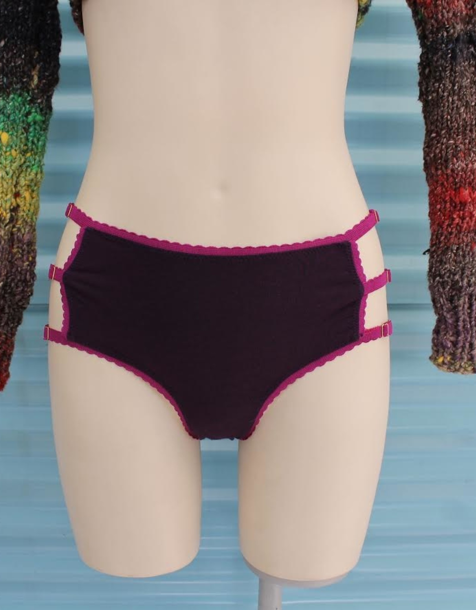 Devil May Wear Cage Panties, High Rise, Plum/Magenta, Bamboo Blend