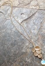 """Devil May Wear 5 Leaf Necklace with Moonstone. Gold fill chain. 20"""""""