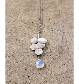 """Devil May Wear 5 Leaf Necklace with Moonstone. Silver fill chain. 20"""""""