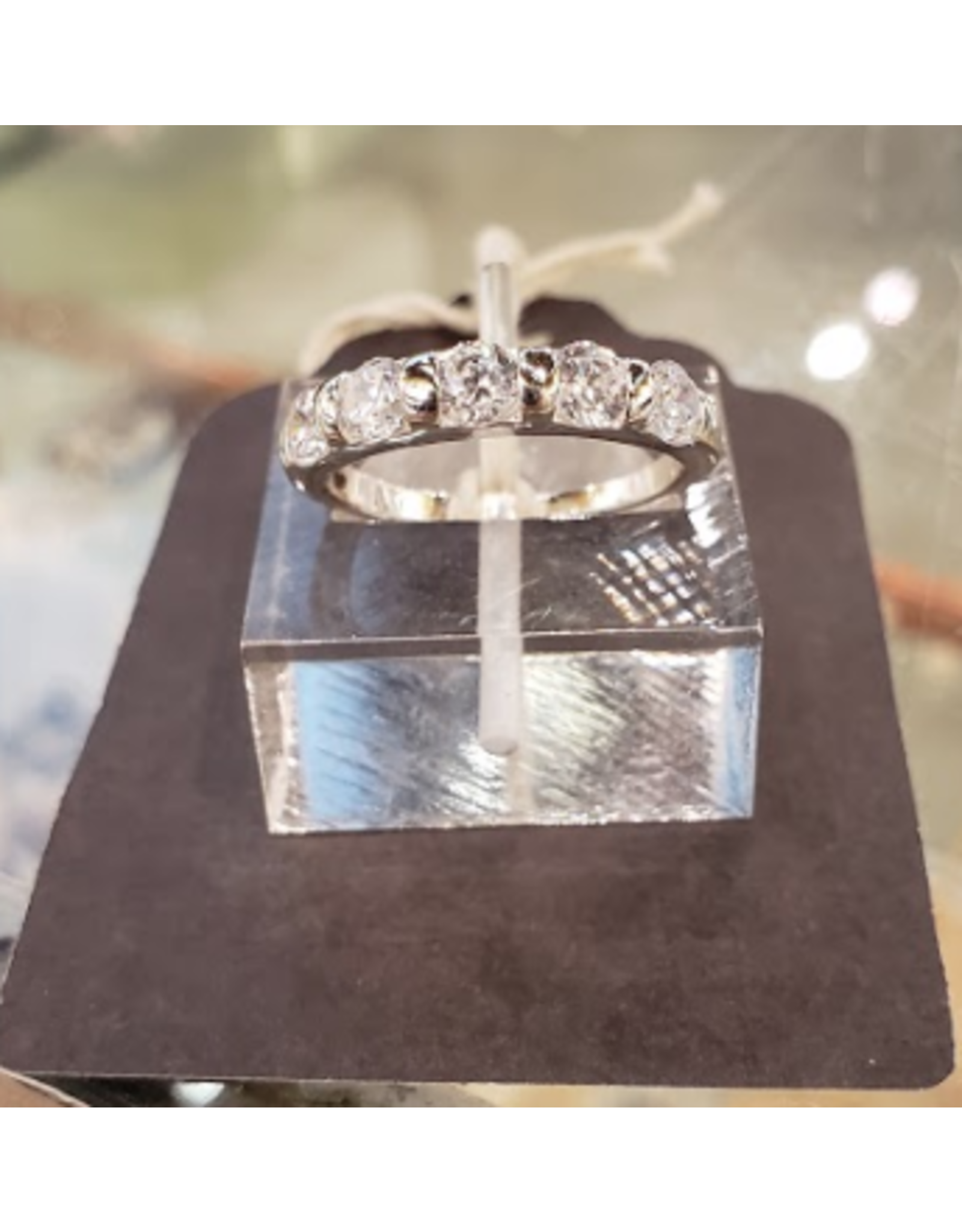 Chris Gillrie 5 Shimmering Cubic Zirconia Ring. Set in Soild Silver with Rhodium Plating. Size 7