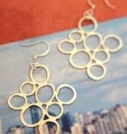 "Devil May Wear 8 Circle Earrings. Silver plated. Silver fill Hooks. 1.5"""