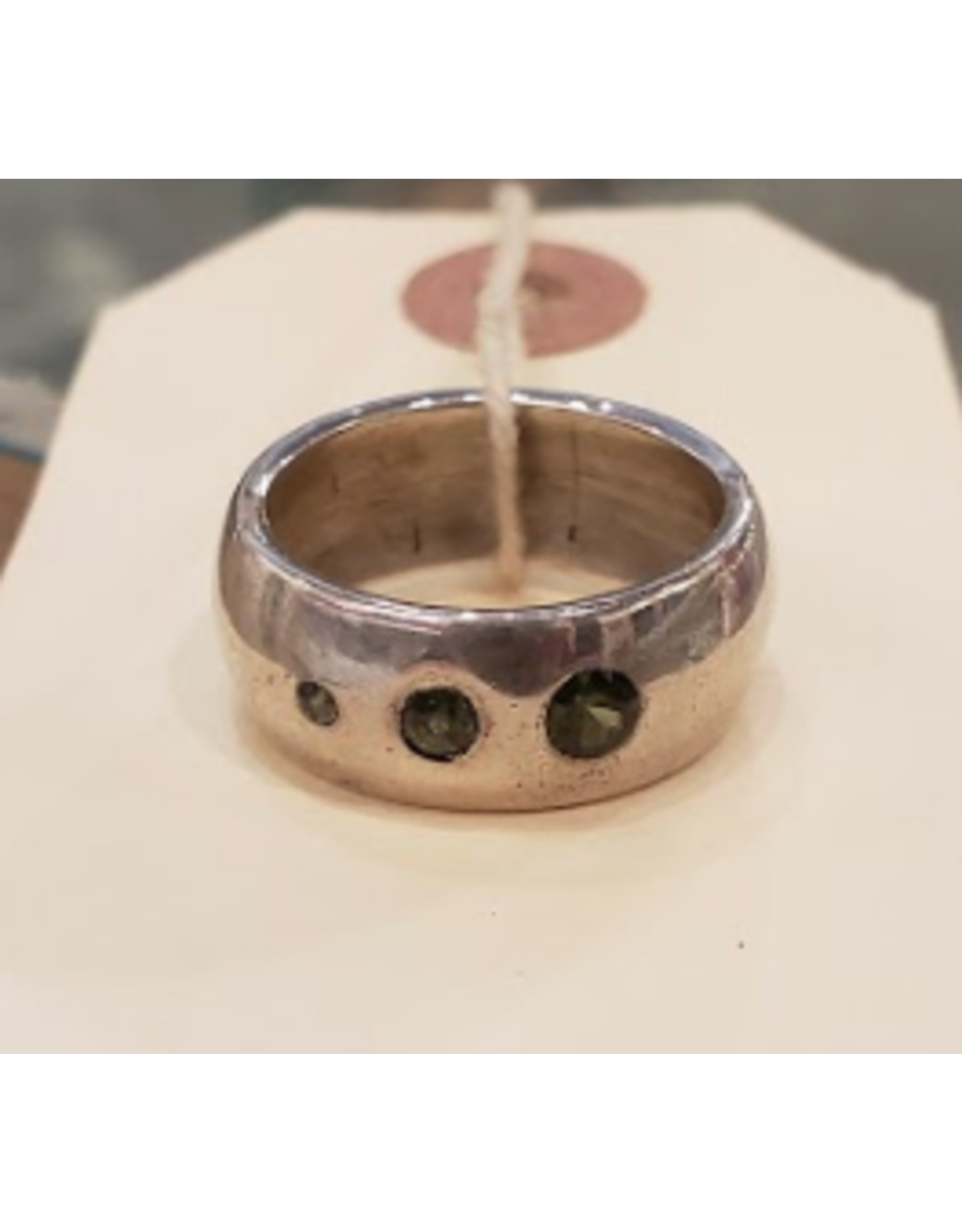 Chris Gillrie A Sapphire View Ring. Solid Silver wide band with 3 sapphire stones inset. Size 10.5