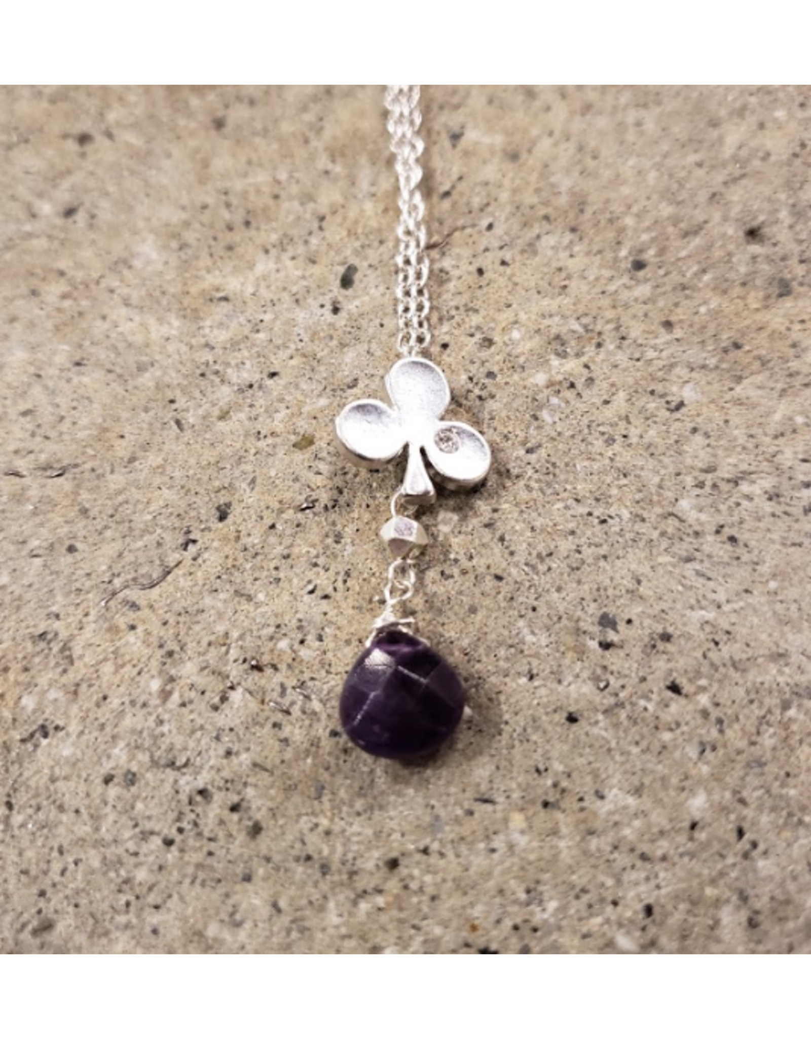 """Devil May Wear Alice's Aces Necklace. Silver plated Club Charm with cubic Zirconia. Amethyst Droplet. Silver plated chain. 23"""""""