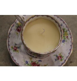 Devil May Wear Tea Cup Candles. Bone China Tea Cup. Bee's Wax Candle. Cotton Wick. Assorted Patterns.