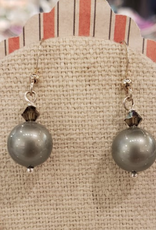 """Devil May Wear Alpine Earrings. Swarovski pearl and crystal. Silver plated post. Fog and Smoke. 1"""""""
