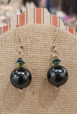 """Devil May Wear Alpine Evening Easrrings. Swarovski Pearl and crystal. Silver plated posts. Blueberry and Peacock. 1"""""""