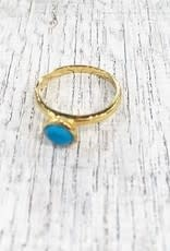 Chris Gillrie Althia Ring. Cup Setting in 18K Gold Vermil over Solid Silver. Turquoise Stone.
