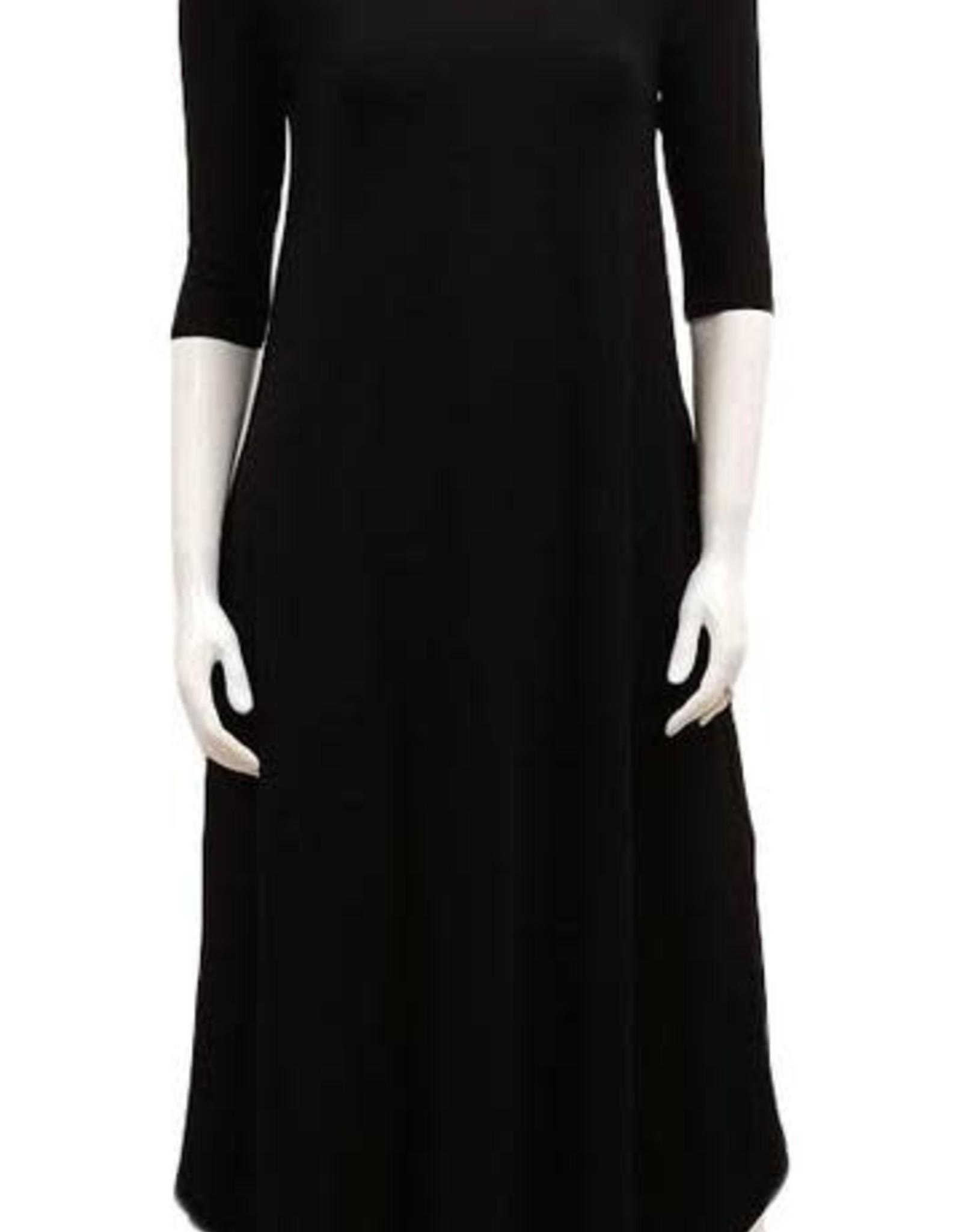 Gilmour Gilmour Bamboo 3/4 Sleeve Shirttail Maxi Dress, Black