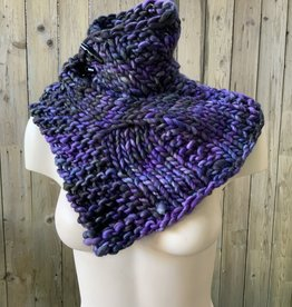 Devil May Wear Summerhill Cable Cowl. Hand Dyed. Hand Knit. 100% Merino Wool. Earthly Purple