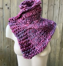 Devil May Wear Summerhill Cable Cowl. Hand Dyed. Hand Knit. 100% Merino Wool. Heavenly Pink