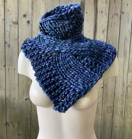 Devil May Wear Summerhill Cable Cowl. Hand Dyed. Hand Knit. 100% Merino Wool. Ocean Dream Blue